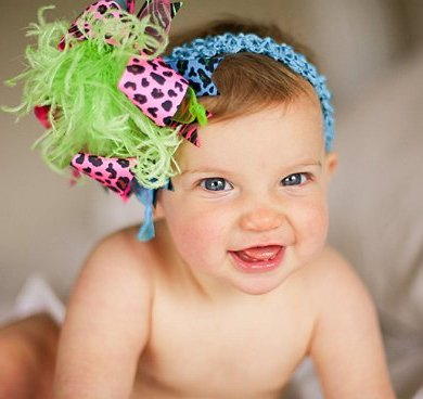 Hot Pink Turquoise and Lime Leopard Zebra Over The Top Hair Bow Headband