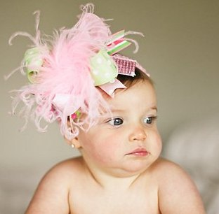 Shimmer Light Pink and Green Over The Top Hair Bow Headband
