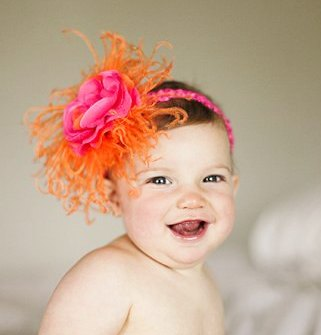 Orange & Hot Pink Flower Puff Headband