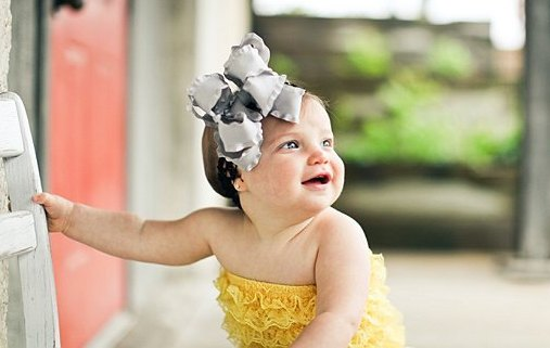 Silver & Black Double Ruffle Hair Bow Headband