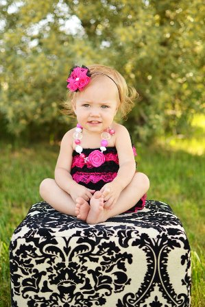 Hot Pink Black Bow Lace Petti Romper