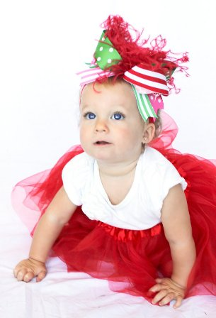 Pink Red and Green Christmas Over the Top Hair Bow Headband
