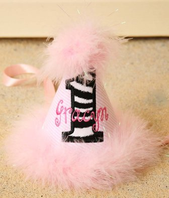 Pink & White Stripes Zebra Print First Birthday Party Hat