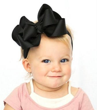 Solid Black Hair Bow Headband