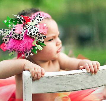 Cheetah Pink and Green Over the Top Hair Bow Headband