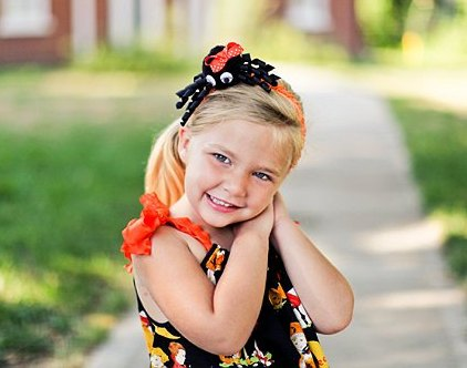 Orange & Black Spider Bow Headband