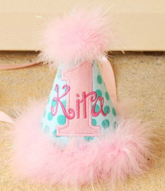 Aqua Ta Dot & Pink Girls First Birthday Party Hat