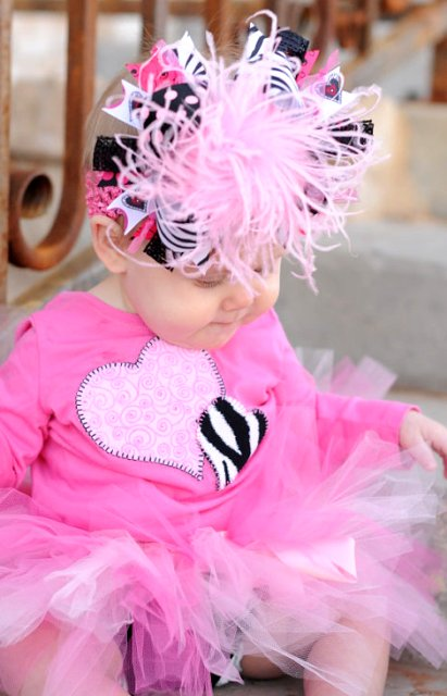 Hearts Galore - Over-the-Top Hair Bow Headband