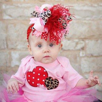 Pink & Red Leopard Heart Valentine Onesie