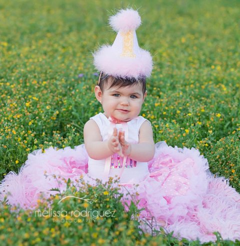 Pink Yellow Stripes Swirls First Birthday Party Hat