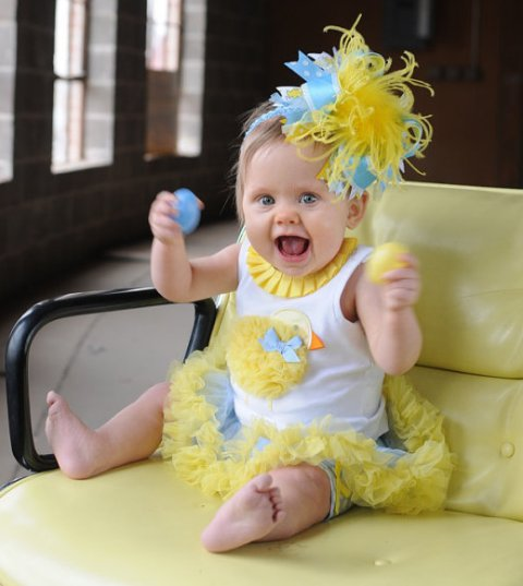 Yellow and Blue Easter Chick Over the Top Hair Bow Headband
