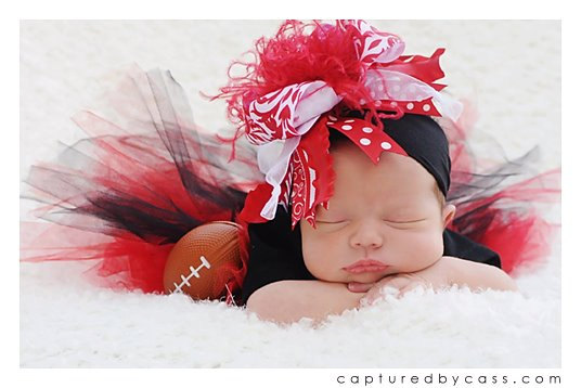 Red & White Damask Nylon Over the Top Hair Bow Headband