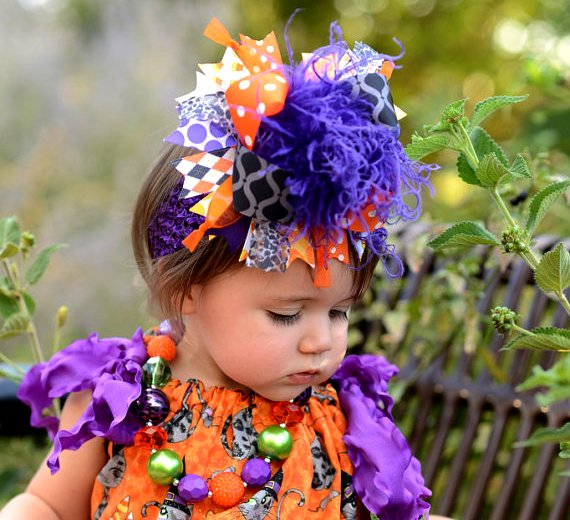 Witches Cats and Candy Corn Over the Top Hair Bow Headband