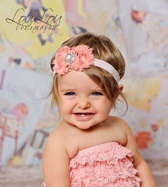 Pink Chiffon Pearl Flower Headband