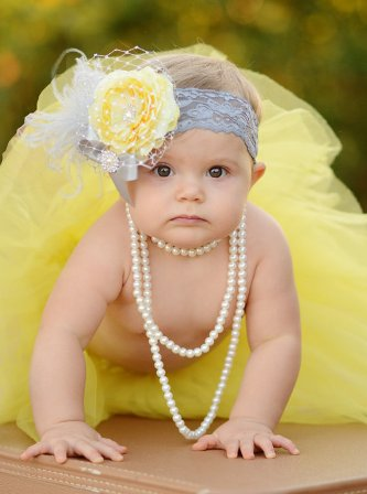 Yellow & Silver Ranuculus Rhinestone Flower Lace Headband