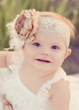 Oatmeal Cream Vintage Flower Lace Headband
