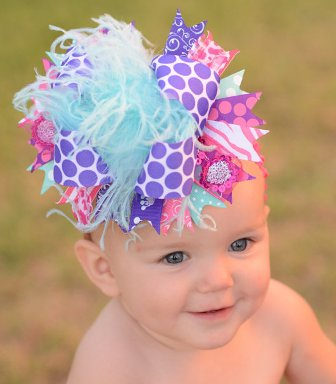 Purple Hot Pink Aqua Polka Dot Hair Bow Headband