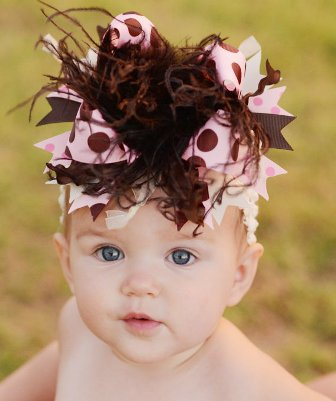 Brown Pink Cream Polka Dot Over the Top Hair Bow Headband
