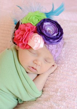 Colorful Couture Springtime Summer Vintage Lace Flower Headband