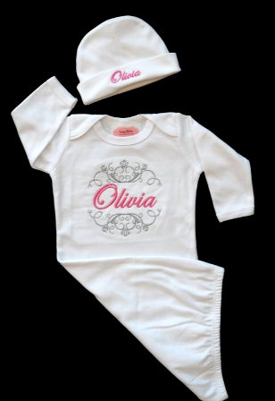 Posh White & Pink Custom Personalized Take Me Home Newborn Gown & Hat Set