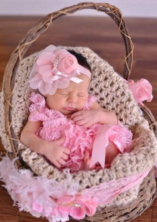 Pink Vintage Flower Lace Headband with Pearls