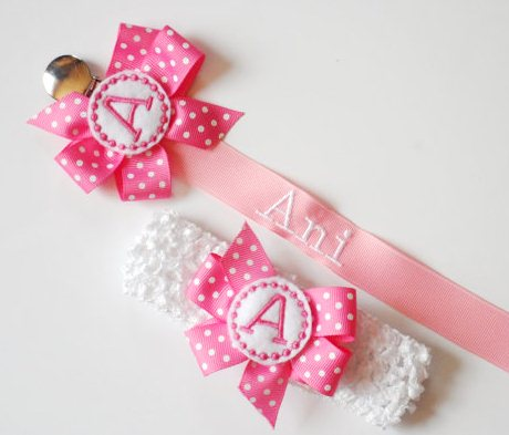 Pink & White Monogram Pacifier Clip Holder