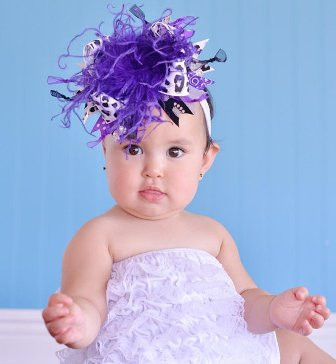 Purple and Silver Leopard Over the Top Hair Bow Headband