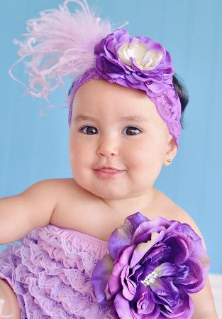 Shades of Purple Lace Flower Petti Romper & Headband Outfit Set
