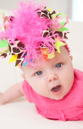 Bright Neon Summertime Giraffe Over the Top Hair Bow Headband