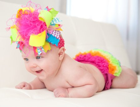 Bright Neon Colorful Chevron Over the Top Hair Bow Headband