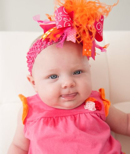 Shocking Pink and Orange Feather Swirl Over The Top Hair Bow Headband