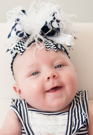 Chevron Navy Blue and White Striped Over the Top Hair Bow Headband