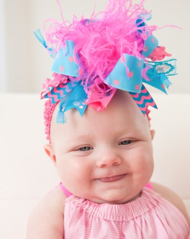 Turquoise & Hot Pink Feather Over The Top Hairbow Headband