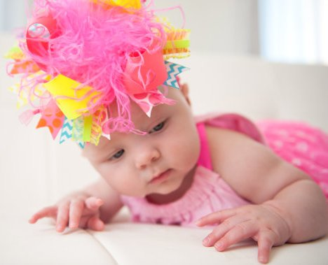 Funky Bright Neon Chevron Over the Top Hair Bow Headband