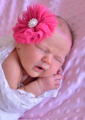 Shocking Pink Tulle Flower Headband With Bling