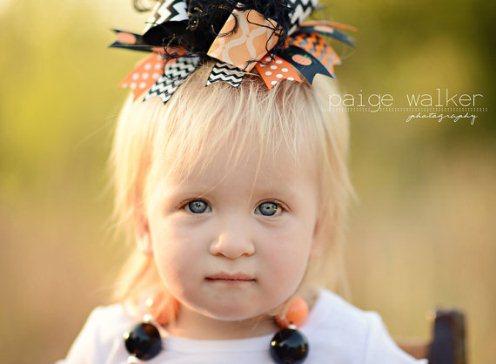 Black Orange Chevron Halloween Over the Top Hair Bow Headband
