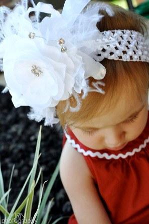 Dressy White Flower - Lg. 5in Double Ruffle Bowband