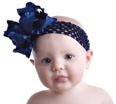 Navy Blue Double Ruffle Hair Bow Headband