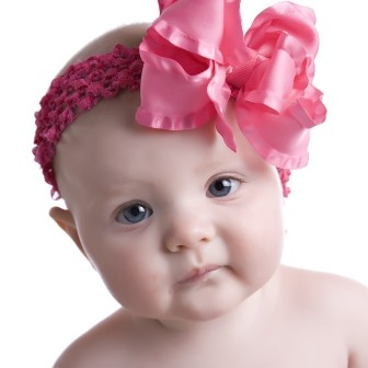 Hot Pink Double Ruffle Hair Bow Headband