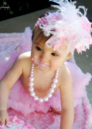 Light Pink and White Marabou Over the Top Hair Bow Headband