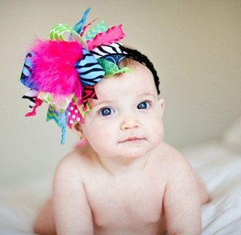 Color Splash Zebra Over the Top Hair Bow Headband