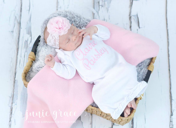 bdb262eab0f67 Newborn Personalized Pink and White Coming Home Gown