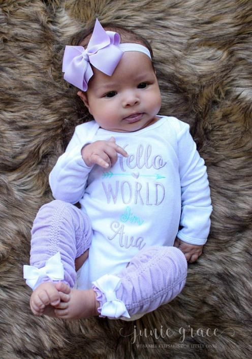 Hello World Personalized Lavender and Aqua 4pc. Onesie Leg Warmers and Headband Outfit Set