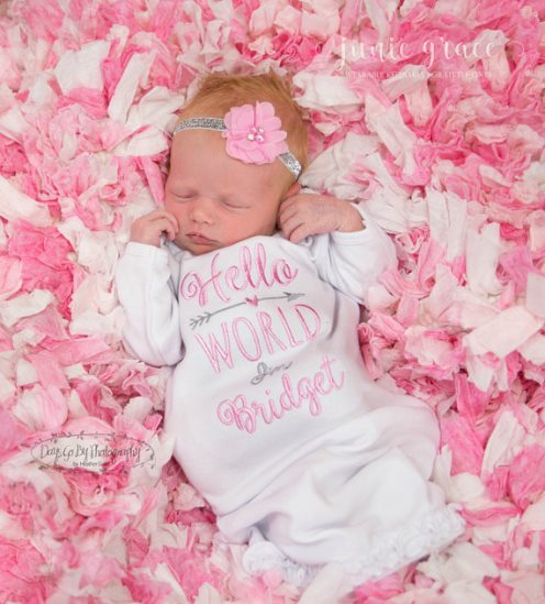 Hello World Personalized Pink and Gray Gown and Headband Outfit Set