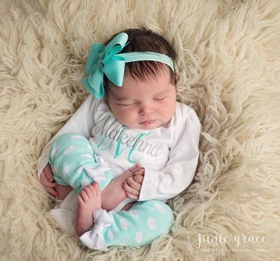 Personalized 4pc. Aqua and Gray Onesie Leg Warmers and Headband Outfit Set