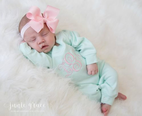 Mint and Pink Monogrammed Romper Layette Outfit and Headband Bow Set