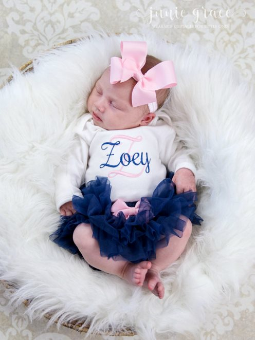 Personalized Navy and Pink 3pc. Onesie Tutu Diaper Cover and Headband Outfit Set