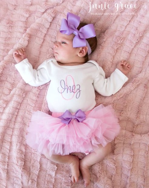 Personalized Pink & Lavender 3pc. Onesie Tutu Diaper Cover and Headband Outfit Set