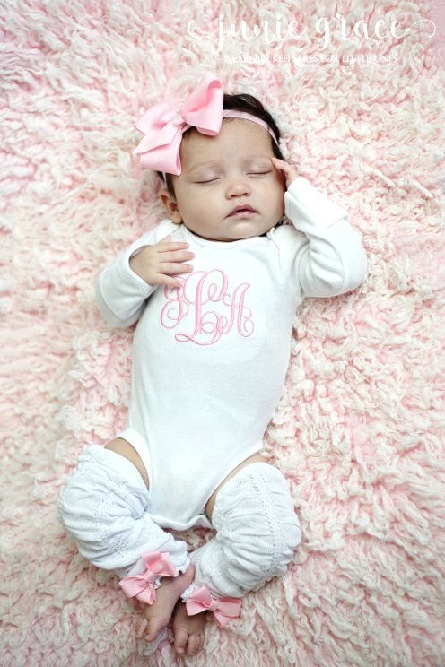 93191426f Monogrammed 4pc. Pink and White Onesie Leg Warmers and Headband Outfit Set