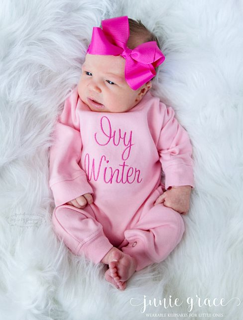 Light Pink & Hot Pink Personalized Romper Layette Outfit and Headband Bow Set